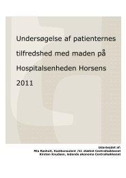 Undersøgelse af patienternes tilfredshed med maden på ...