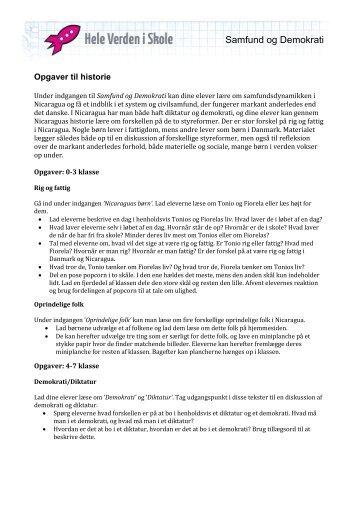 Opgaver til Samfund og demokrati - Hele Verden i Skole