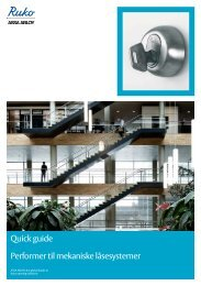 Quick guide Performer til mekaniske låsesystemer - Ruko