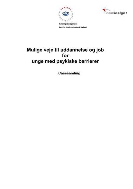 Mulige veje til uddannelse og job for unge med psykiske barrierer