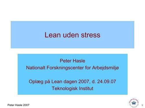 Lean uden stress - Det Nationale Forskningscenter for Arbejdsmiljø