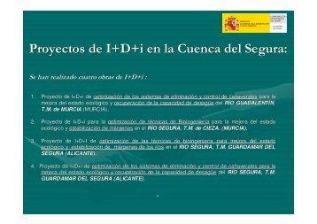 Proyectos de I+D+i en la Cuenca del Segura, de optimización de los ...