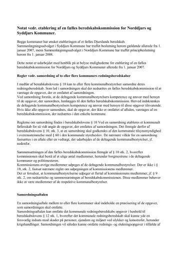 Notat vedr. etablering af en fælles beredskabskommission for ...