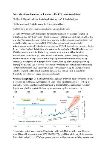 Det er vår sol, gravitasjon og jordrotasjon – ikke ... - Klimarealistene