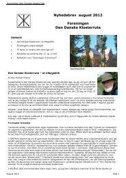 Nyhedsbrev august 2012 Foreningen Den Danske Klosterrute