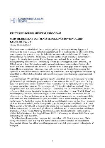 kulturhistorisk museum årbog 2003 mad til herskab og tjenestefolk ...