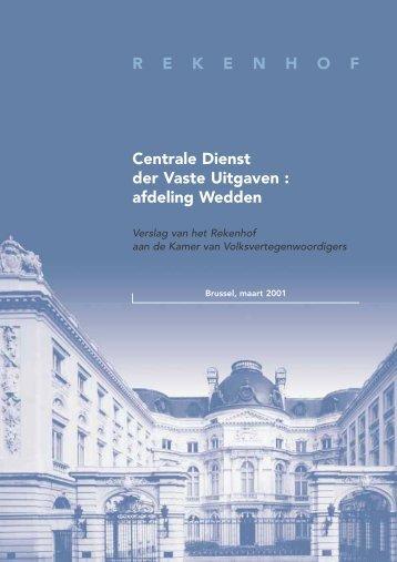 Centrale Dienst der Vaste Uitgaven : afdeling Wedden. Maart 2001.