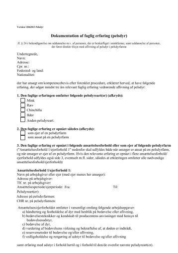 Dokumentation af faglig erfaring (pelsdyr) jf paragraf 24 - 13-06-2013