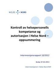 Kontroll av helsepersonells kompetanse og ... - Helse Nord