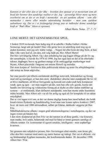 Lone Mertz: Det gennemsigtige spejl -PDF-Tekst (Danish) - Stalke