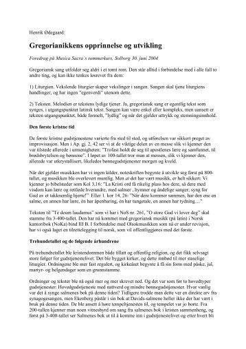 Gregorianikkens opprinnelse og utvikling (PDF)