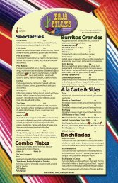 Baja Enchiladas $10 Two corn tortillas stuffed with choice of ...