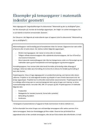 Eksempler på temaopgaver i matematik indenfor geometri - Uvmat