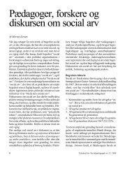 Pædagoger, forskere og diskursen om social arv