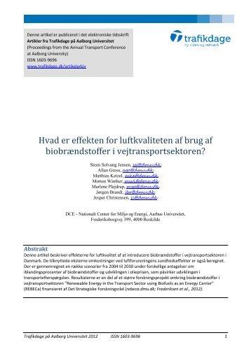 Hvad er effekten for luftkvaliteten af brug af ... - Trafikdage.dk