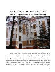 biblioteca centrală a universităţii de medicină şi farmacie din târgu ...