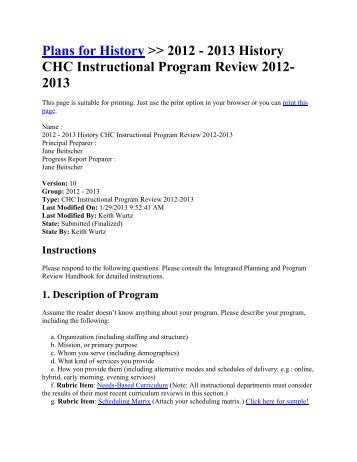Plans for History >> 2012 - 2013 History CHC Instructional Program ...