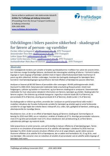 Udviklingen i bilers passive sikkerhed - skadesgrad ... - Trafikdage.dk
