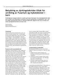 Betydning av dyrkingstekniske tiltak for utvikling av Fusarium og ...