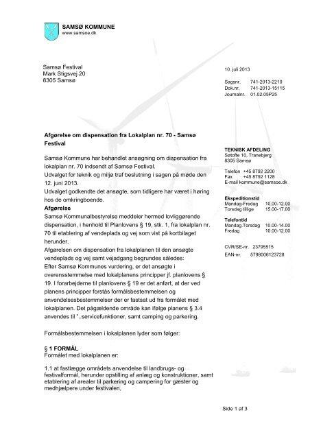 Afgørelse om dispensation fra Lokalplan nr. 70 ... - Samsø Kommune