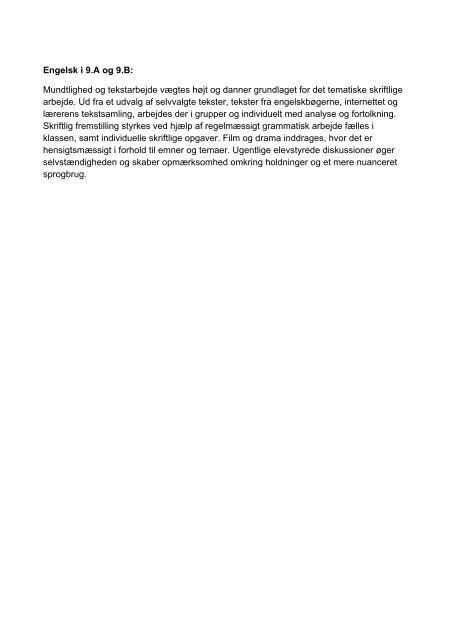 Engelsk i 9.A og 9.B: Mundtlighed og tekstarbejde vægtes højt og ...