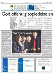 Artikel i Børsen, 1. september 2003 - Forum for Offentlig Topledelse