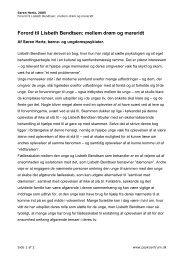 Forord til Lisbeth Bendtsen: mellem drøm og mareridt - PsykCentrum