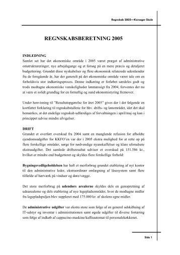 Regnskabsberetning 2005 skolen - Korsager Skole