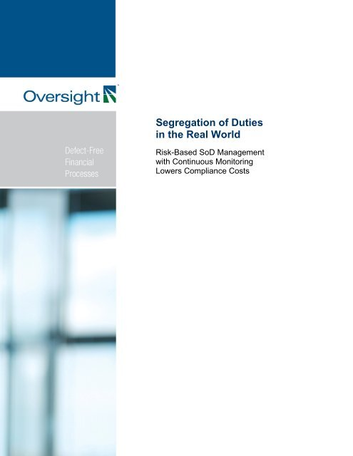 Segregation Of Duties In The Real World Oversight Systems