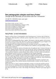 Pædagogisk arbejde med Harry Potter - Folkeskolen