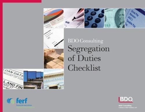 Segregation Of Duties Checklist BDO Consulting