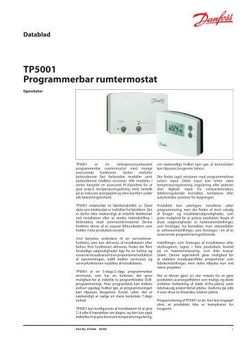 TP5001 Programmerbar rumtermostat - Danfoss Varme