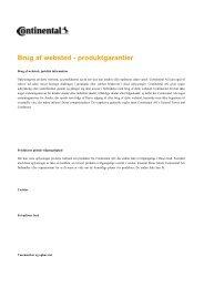 Brug af websted - produktgarantier - Continental