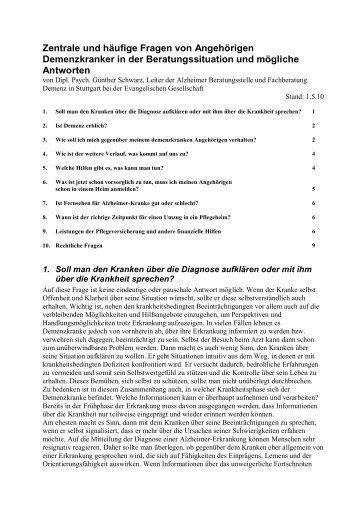 Zentrale und häufige Fragen von Angehörigen ... - eva