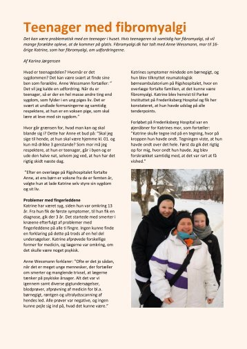 Teenager med fibromyalgi - Dansk Fibromyalgi-Forening