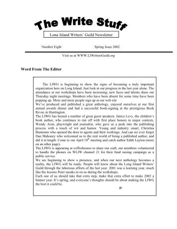 The Write Stuff Issue #8, Spring 2002 - The Long Island Writers