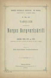 Tabeller vedkommende Norges Berværksdrift i Aarene 1880, 1881 ...