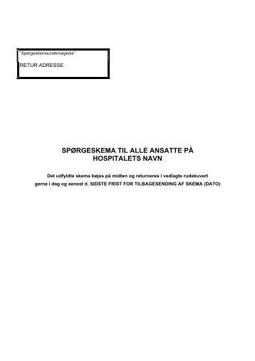 spørgeskema til alle ansatte på hospitalets navn - Bispebjerg Hospital