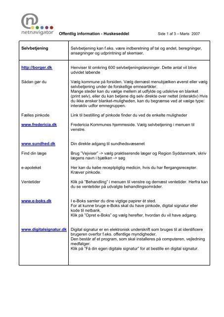 Offentlig information - Huskeseddel http://borger.dk Borgernes ...
