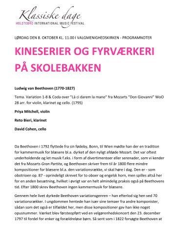 programnoter - kineserier og fyrværkeri på ... - Klassiske Dage