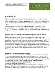 Nyhedsbrev fra EDEN Denmark Nr.16 - 9. marts 2012 - The Eden ...