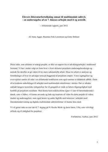 Elevers litteraturfortolkning omsat til multimodale udtryk - en ...