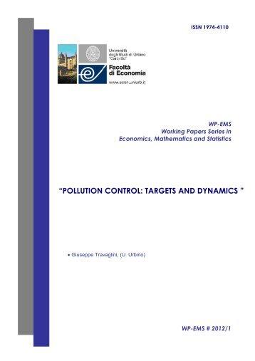 pollution control: targets and dynamics - Università di Urbino