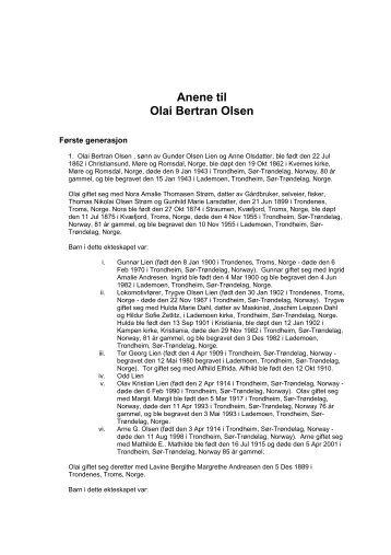 Anene til Olai Bertran Olsen - Zetlitz.com