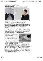 Read Interview about the exh. Dagen... 2012 Kunsten.nu - Signe Vad