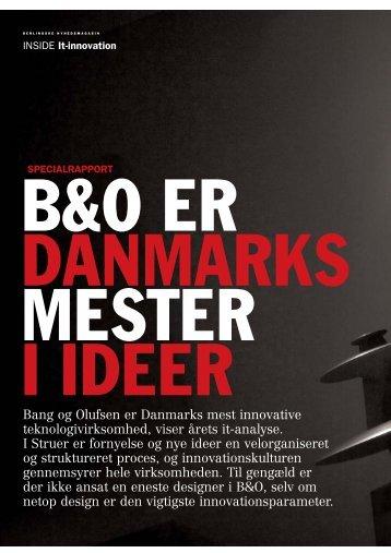 Bang og Olufsen er Danmarks mest innovative teknologivirksomhed ...