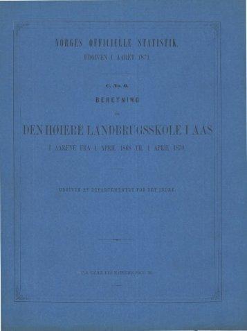 AARENE 1868-69 oG 1869-70. - SSB