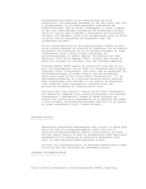 Infertilitetskohorte (forskningsprojekt COMPI) - DDA Samfund ...