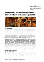 Redegørelse vedrørende skybruddet i Storkøbenhavn den 2. juli 2011