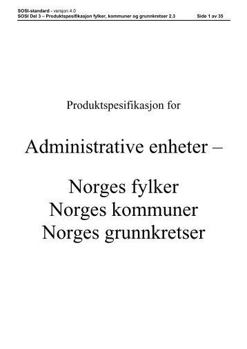 Produktspesifikasjon for fylker, kommuner og ... - Kartverket